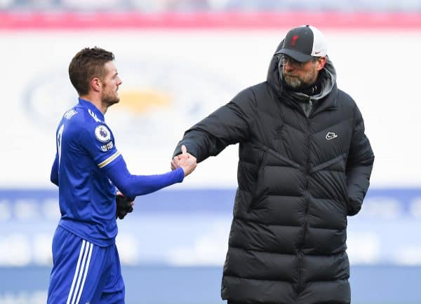 LEICESTER, ENGLAND - Saturday, February 13, 2021: Liverpool's manager Jürgen Klopp and Leicester City's Jamie Vardy after the FA Premier League match between Leicester City FC and Liverpool FC at the King Power Stadium. Leicester City won 3-1. (Pic by Propaganda)