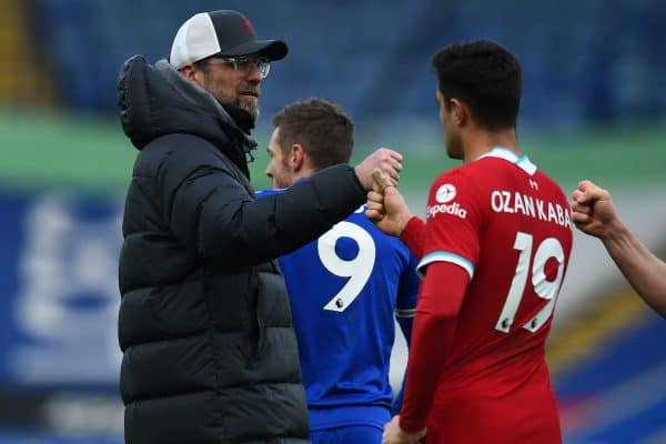 LEICESTER, ENGLAND - Saturday, February 13, 2021: Liverpool's manager Jürgen Klopp and Ozan Kabak after the FA Premier League match between Leicester City FC and Liverpool FC at the King Power Stadium. Leicester City won 3-1. (Pic by Propaganda)