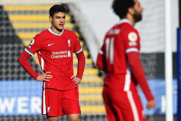 LEICESTER, ENGLAND - Saturday, February 13, 2021: Liverpool's Ozan Kabak looks dejected after Leicester City score the third goal during the FA Premier League match between Leicester City FC and Liverpool FC at the King Power Stadium. Leicester City won 3-1. (Pic by Propaganda)