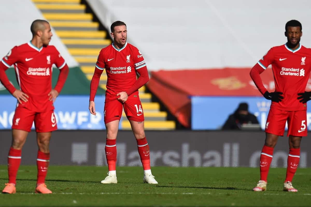 LEICESTER, ENGLAND - Saturday, February 13, 2021: Liverpool's captain Jordan Henderson looks dejected after Leicester City score the third goal during the FA Premier League match between Leicester City FC and Liverpool FC at the King Power Stadium. Leicester City won 3-1. (Pic by Propaganda)