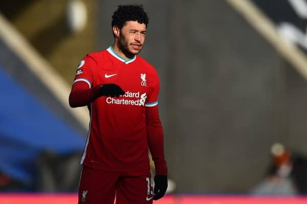 LEICESTER, ENGLAND - Saturday, February 13, 2021: Liverpool's Alex Oxlade-Chamberlain looks dejected after Leicester City score the third goal during the FA Premier League match between Leicester City FC and Liverpool FC at the King Power Stadium. Leicester City won 3-1. (Pic by Propaganda)