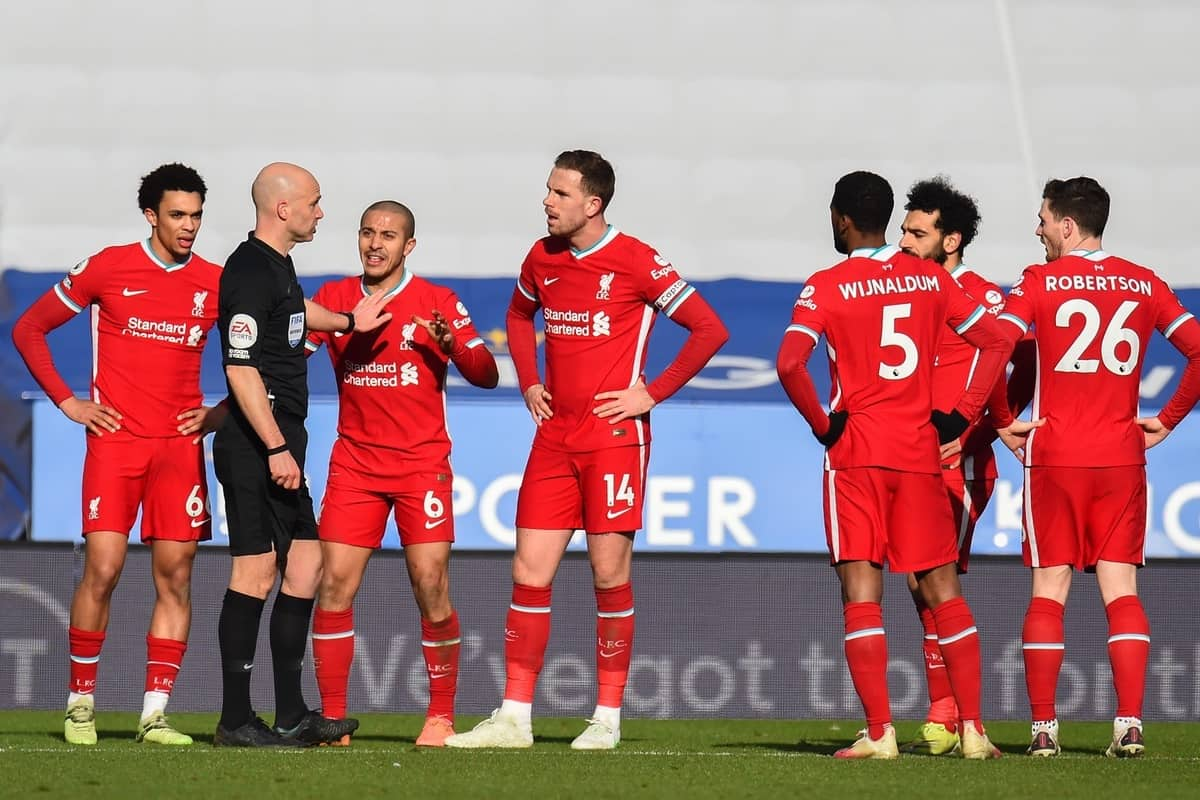 LEICESTER, ENGLAND - Saturday, February 13, 2021: Liverpool's Trent Alexander-Arnold, Thiago Alcantara and captain Jordan Henderson speak with referee Anthony Taylor during a VAR decision for a penalty during the FA Premier League match between Leicester City FC and Liverpool FC at the King Power Stadium. (Pic by Propaganda)
