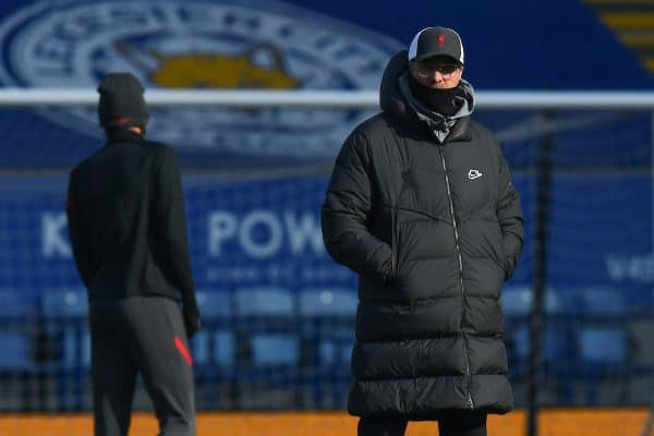 LEICESTER, ENGLAND - Saturday, February 13, 2021: Liverpool's manager Jürgen Klopp during the pre-match warm-up before the FA Premier League match between Leicester City FC and Liverpool FC at the King Power Stadium. (Pic by Propaganda)