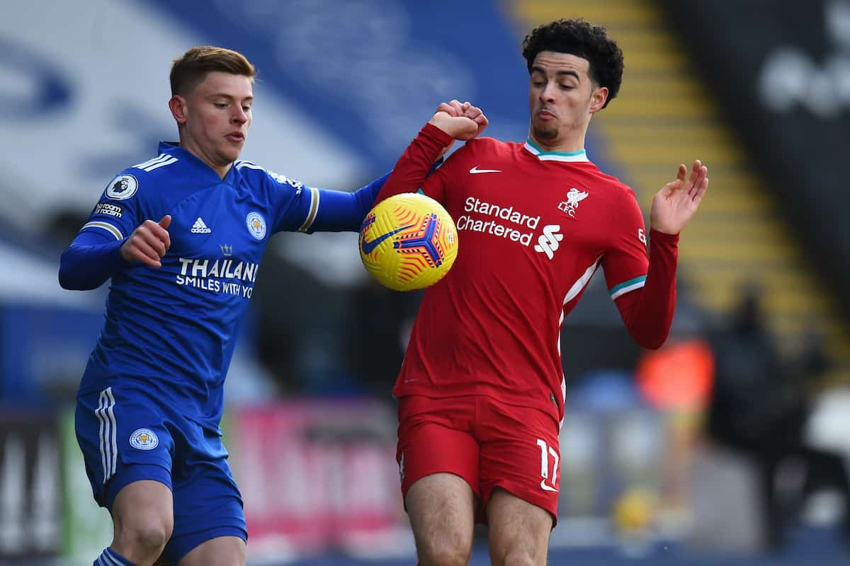 LEICESTER, ENGLAND - Saturday, February 13, 2021: Liverpool's Curtis Jones during the FA Premier League match between Leicester City FC and Liverpool FC at the King Power Stadium. (Pic by Propaganda)