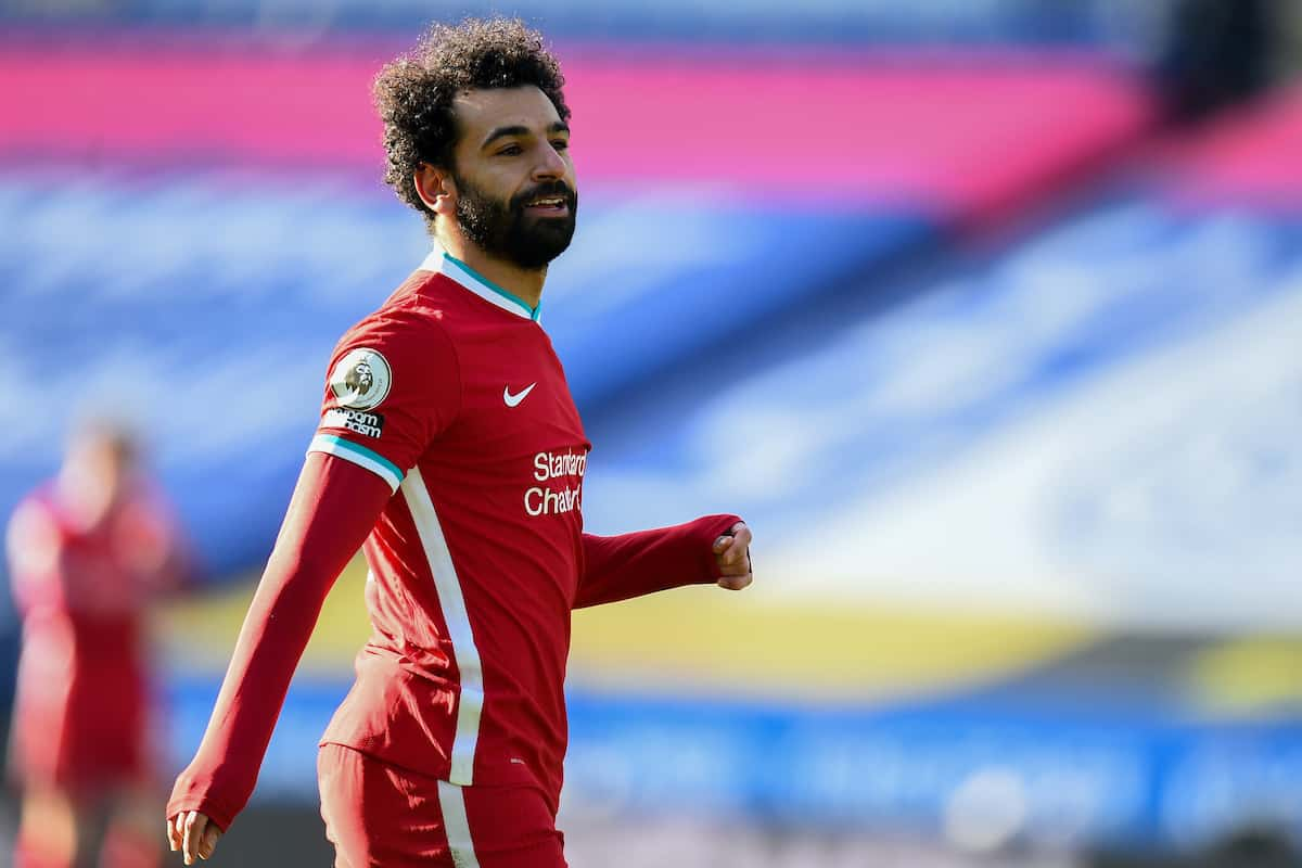 LEICESTER, ENGLAND - Saturday, February 13, 2021: Liverpool's Mohamed Salah during the FA Premier League match between Leicester City FC and Liverpool FC at the King Power Stadium. (Pic by Propaganda)