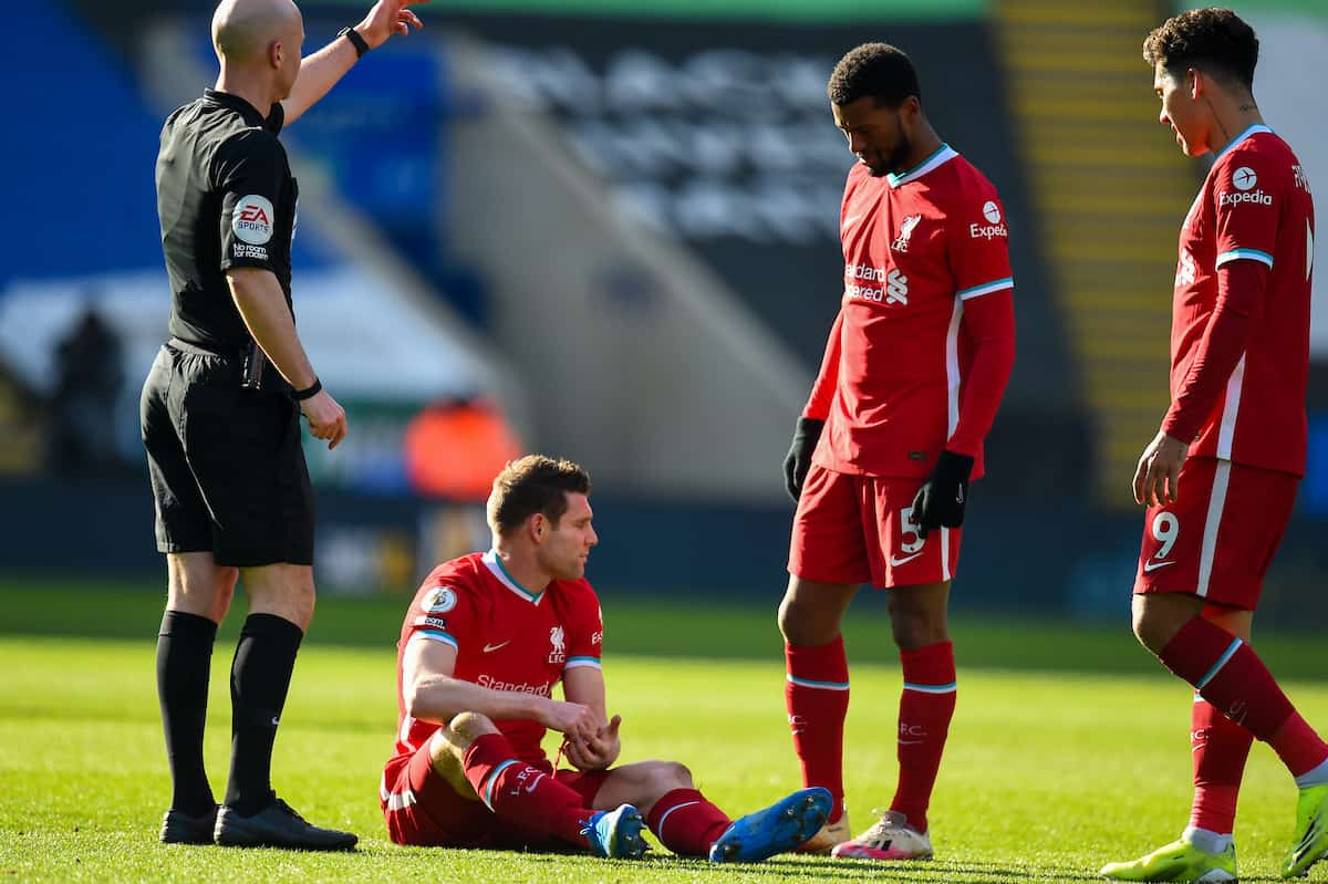 LEICESTER, ENGLAND - Saturday, February 13, 2021: Liverpool's James Milner goes down injured during the FA Premier League match between Leicester City FC and Liverpool FC at the King Power Stadium. (Pic by Propaganda)