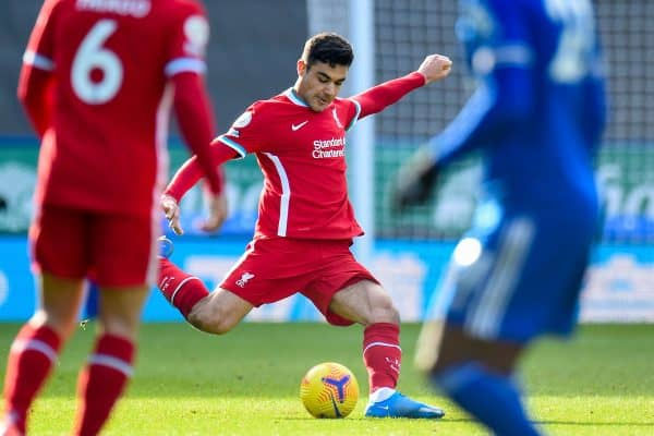 LEICESTER, ENGLAND - Saturday, February 13, 2021: Liverpool's Ozan Kabak during the FA Premier League match between Leicester City FC and Liverpool FC at the King Power Stadium. (Pic by Propaganda)