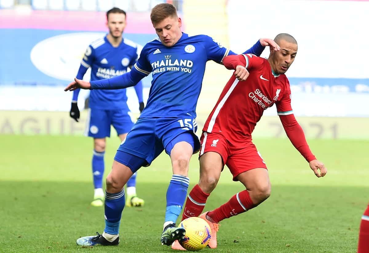 LEICESTER, ENGLAND - Saturday, February 13, 2021: Liverpool's Thiago Alcantara (R) and Leicester City's Harvey Barnes during the FA Premier League match between Leicester City FC and Liverpool FC at the King Power Stadium. (Pic by Propaganda)