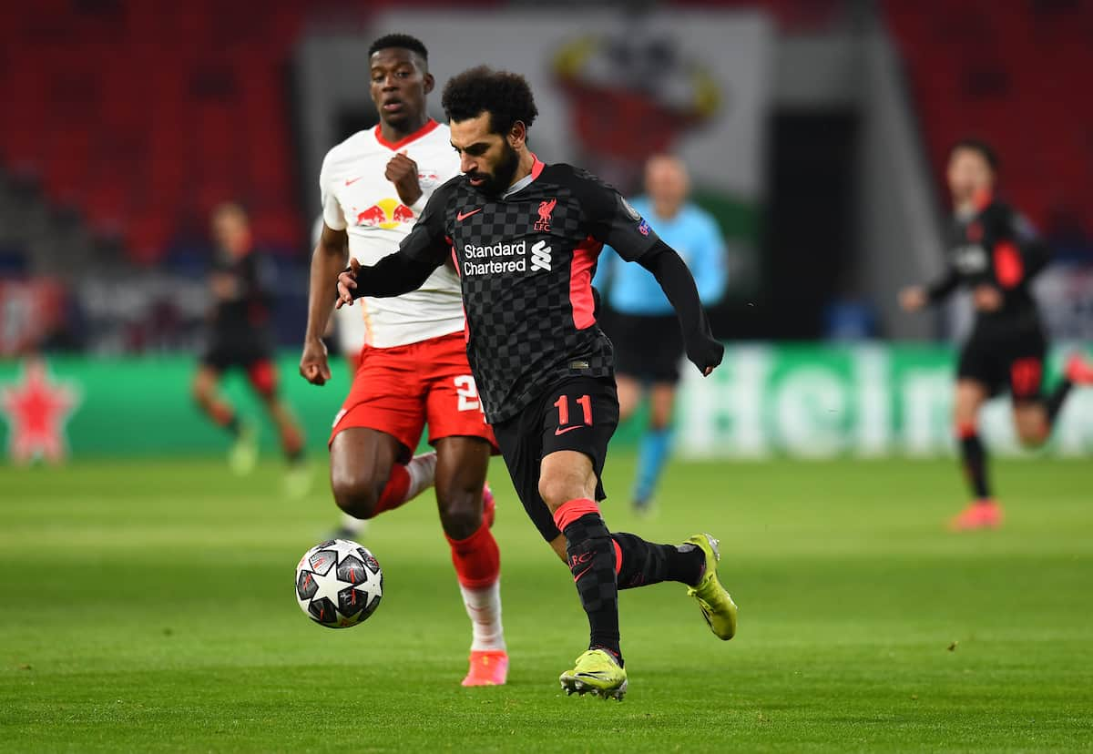 BUDAPEST, HUNGARY - Tuesday, February 16, 2021: Liverpool's Mohamed Salah during the UEFA Champions League Round of 16 1st Leg game between RB Leipzig and Liverpool FC at the Puskás Aréna. (Pic by Propaganda)