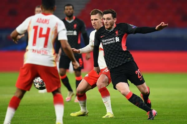 BUDAPEST, HUNGARY - Tuesday, February 16, 2021: Liverpool's Andy Robertson during the UEFA Champions League Round of 16 1st Leg game between RB Leipzig and Liverpool FC at the Puskás Aréna. (Pic by Propaganda)
