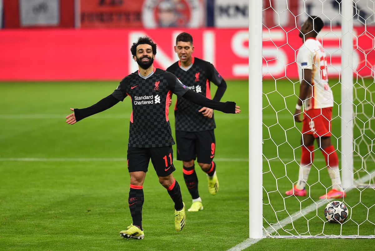 BUDAPEST, HUNGARY - Tuesday, February 16, 2021: Liverpool's Mohamed Salah celebrates after scoring the first goal during the UEFA Champions League Round of 16 1st Leg game between RB Leipzig and Liverpool FC at the Puskás Aréna. (Pic by Propaganda)