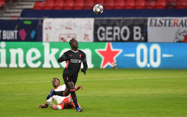BUDAPEST, HUNGARY - Tuesday, February 16, 2021: Liverpool's Sadio Mané runs through to score the second goal during the UEFA Champions League Round of 16 1st Leg game between RB Leipzig and Liverpool FC at the Puskás Aréna. (Pic by Propaganda)