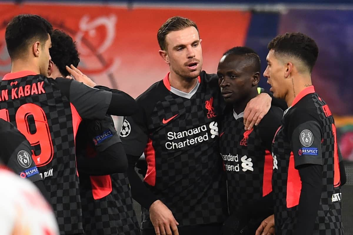 BUDAPEST, HUNGARY - Tuesday, February 16, 2021: Liverpool's Sadio Mané celebrates with team-mates after scoring the second goal during the UEFA Champions League Round of 16 1st Leg game between RB Leipzig and Liverpool FC at the Puskás Aréna. (Pic by Propaganda)