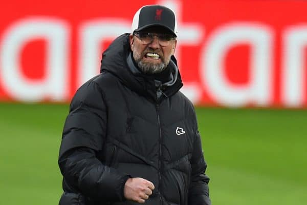 BUDAPEST, HUNGARY - Tuesday, February 16, 2021: Liverpool's manager Jürgen Klopp reacts during the UEFA Champions League Round of 16 1st Leg game between RB Leipzig and Liverpool FC at the Puskás Aréna. (Pic by Propaganda)