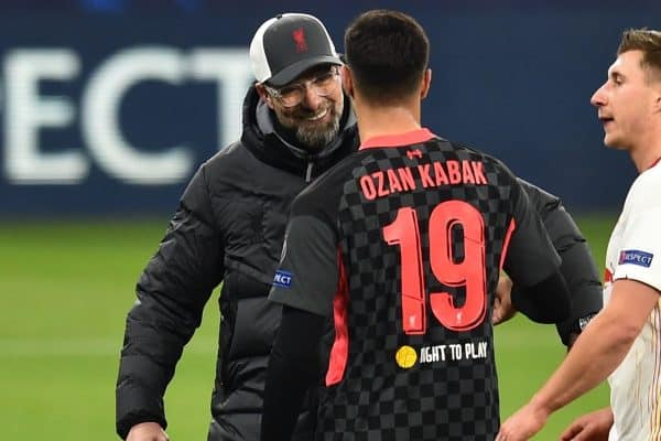 BUDAPEST, HUNGARY - Tuesday, February 16, 2021: Liverpool's manager Jürgen Klopp (L) and RB Leipzig's Alexander Sørloth after the UEFA Champions League Round of 16 1st Leg game between RB Leipzig and Liverpool FC at the Puskás Aréna. (Pic by Propaganda)