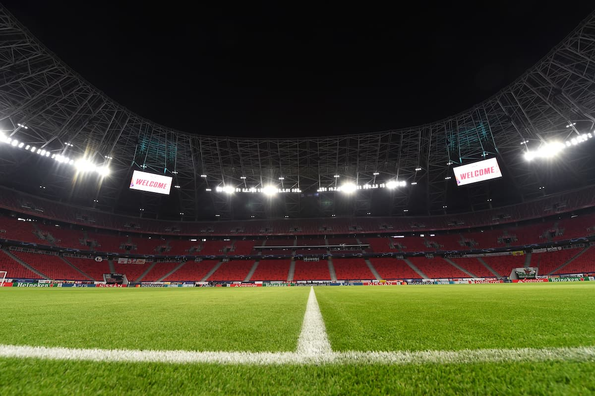 BUDAPEST, HUNGARY - Tuesday, February 16, 2021: A general view of the Puskás Aréna ahead of the UEFA Champions League Round of 16 1st Leg game between RB Leipzig and Liverpool FC. (Pic by Propaganda)