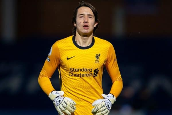 KINGSTON-UPON-THAMES, ENGLAND - Friday, February 19, 2021: Liverpool's goalkeeper Marcelo Pitaluga during the Premier League 2 Division 1 match between Chelsea FC Under-23's and Liverpool FC Under-23's at the Kingsmeadow Stadium. (Pic by David Rawcliffe/Propaganda)