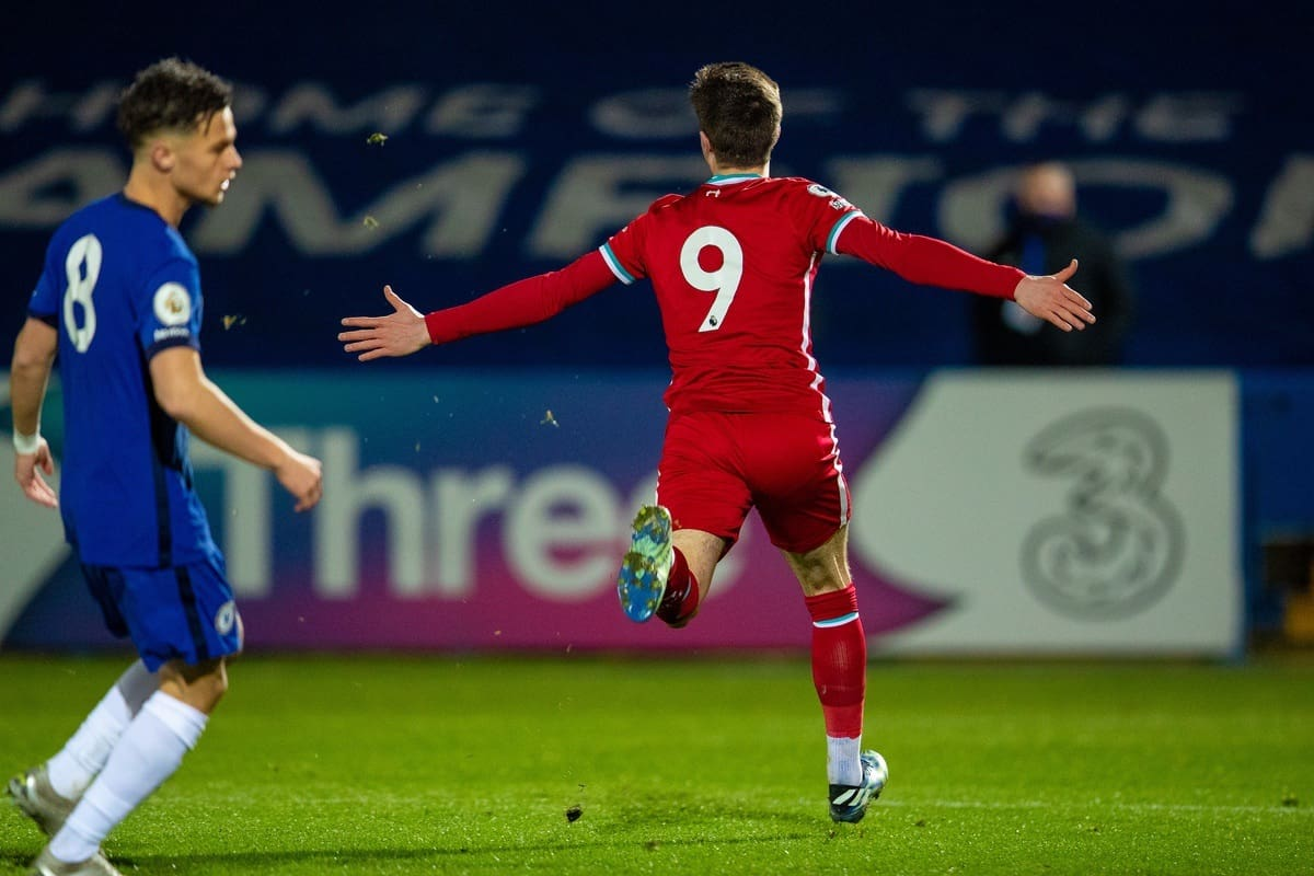 KINGSTON-UPON-THAMES, ENGLAND - Friday, February 19, 2021: Liverpool's Layton Stewart celebrates after scoring the third goal during the Premier League 2 Division 1 match between Chelsea FC Under-23's and Liverpool FC Under-23's at the Kingsmeadow Stadium. (Pic by David Rawcliffe/Propaganda)