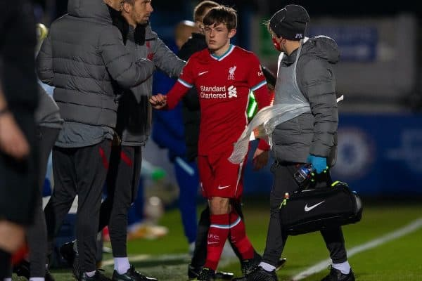 Liverpool's Leighton Clarkson goes off injured during the Premier League 2 Division 1 match between Chelsea FC Under-23's and Liverpool FC Under-23's at the Kingsmeadow Stadium. (Pic by David Rawcliffe/Propaganda)