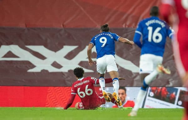 LIVERPOOL, ENGLAND - Saturday, February 20, 2021: Everton's Dominic Calvert-Lewin wins a penalty by falling over the leg of Liverpool's Trent Alexander-Arnold during the FA Premier League match between Liverpool FC and Everton FC, the 238th Merseyside Derby, at Anfield. (Pic by David Rawcliffe/Propaganda)