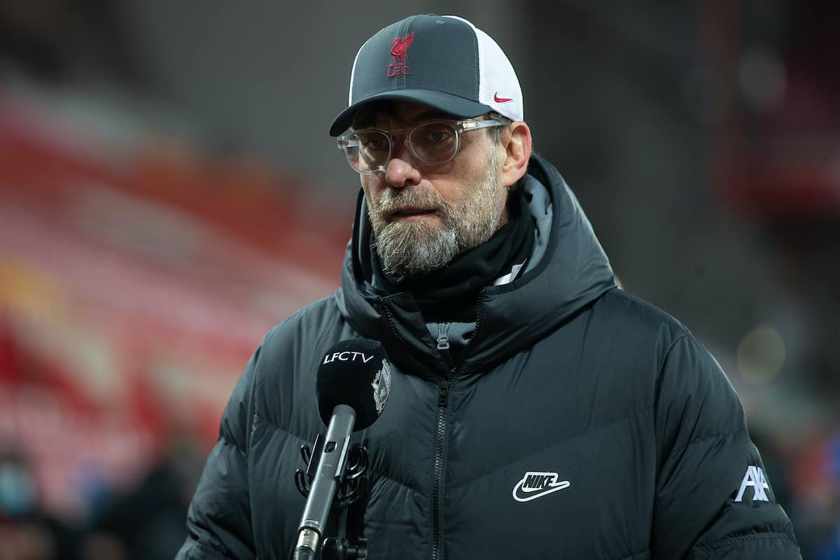 LIVERPOOL, ENGLAND - Saturday, February 20, 2021: Liverpool's Jurgen Klopp after the FA Premier League match between Liverpool FC and Everton FC, the 238th Merseyside Derby, at Anfield. (Pic by David Rawcliffe/Propaganda)
