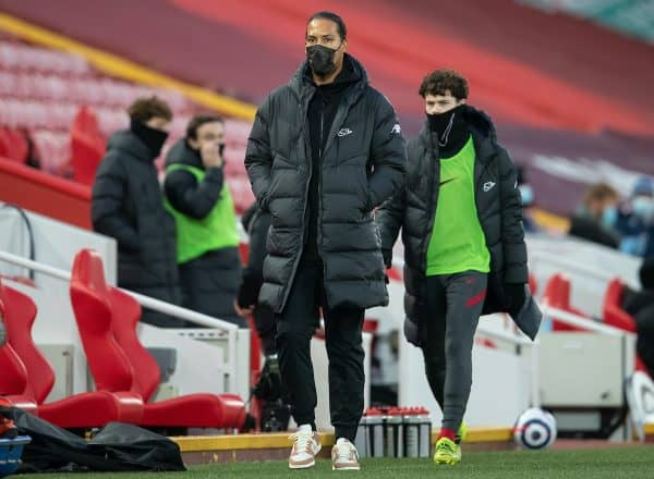 LIVERPOOL, ENGLAND - Saturday, February 20, 2021: Liverpool's injured Virgil van Dijk before the FA Premier League match between Liverpool FC and Everton FC, the 238th Merseyside Derby, at Anfield. (Pic by David Rawcliffe/Propaganda)