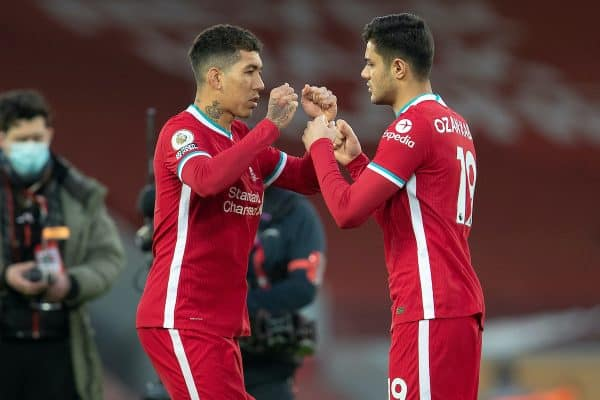 LIVERPOOL, ENGLAND - Saturday, February 20, 2021: Liverpool's Roberto Firmino (L) and Ozan Kabak before the FA Premier League match between Liverpool FC and Everton FC, the 238th Merseyside Derby, at Anfield. (Pic by David Rawcliffe/Propaganda)