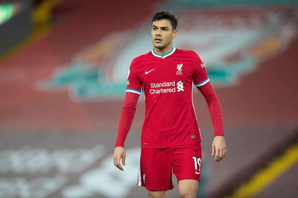 Liverpool's Ozan Kabak during the FA Premier League match between Liverpool FC and Everton FC, the 238th Merseyside Derby, at Anfield. (Pic by David Rawcliffe/Propaganda)