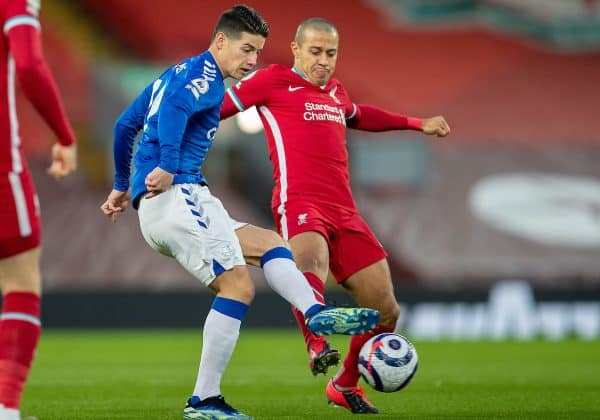 LIVERPOOL, ENGLAND - Saturday, February 20, 2021: Liverpool's Thiago Alcantara (R) and Everton's James Rodríguez during the FA Premier League match between Liverpool FC and Everton FC, the 238th Merseyside Derby, at Anfield. (Pic by David Rawcliffe/Propaganda)