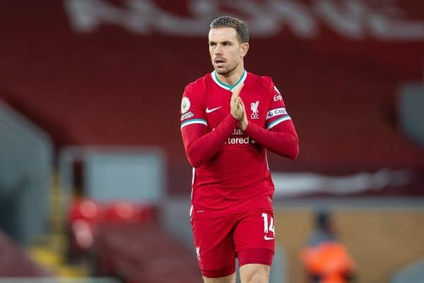Liverpool's captain Jordan Henderson during the FA Premier League match between Liverpool FC and Everton FC, the 238th Merseyside Derby, at Anfield. (Pic by David Rawcliffe/Propaganda)