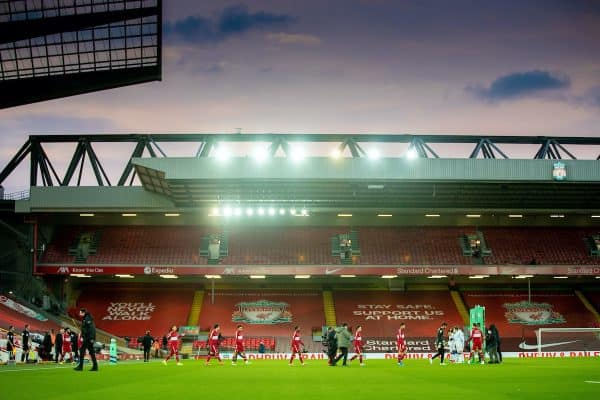 LIVERPOOL, ENGLAND - Saturday, February 20, 2021: A general view during the FA Premier League match between Liverpool FC and Everton FC, the 238th Merseyside Derby, at Anfield. (Pic by David Rawcliffe/Propaganda)