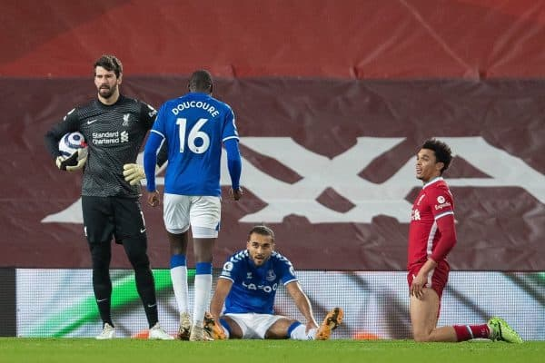 Liverpool's goalkeeper Alisson Becker looks dejected as Everton's Dominic Calvert-Lewin wins a penalty during the FA Premier League match between Liverpool FC and Everton FC, the 238th Merseyside Derby, at Anfield. (Pic by David Rawcliffe/Propaganda)