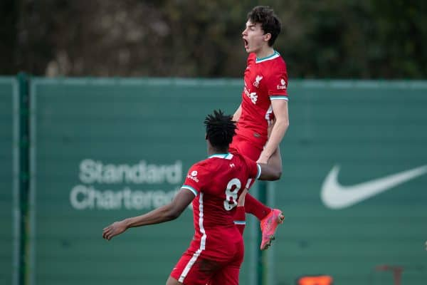 KIRKBY, ENGLAND - Saturday, February 27, 2021: Liverpool's Mateusz Musialowski celebrates after scoring an injury time winning goal during the Under-18 Premier League match between Liverpool FC Under-18's and Everton FC Under-23's at the Liverpool Academy. Liverpool won 2-1. (Pic by David Rawcliffe/Propaganda)