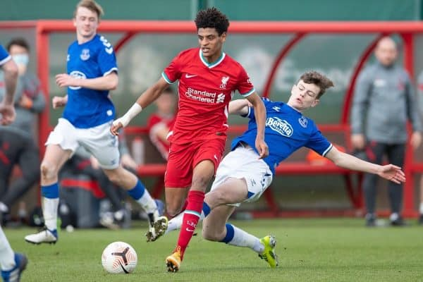 KIRKBY, ENGLAND - Saturday, February 27, 2021: Liverpool's Melkamu Frauendorf is fouled during the Under-18 Premier League match between Liverpool FC Under-18's and Everton FC Under-23's at the Liverpool Academy. (Pic by David Rawcliffe/Propaganda)
