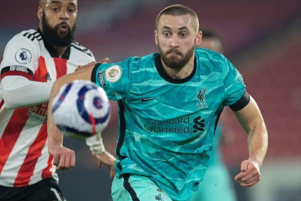 SHEFFIELD, ENGLAND - Sunday, February 28, 2021: Liverpool's Nathaniel Phillips during the FA Premier League match between Sheffield United FC and Liverpool FC at Bramall Lane. (Pic by David Rawcliffe/Propaganda)