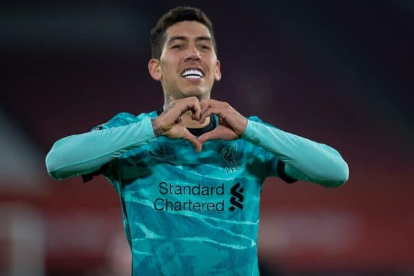 SHEFFIELD, ENGLAND - Sunday, February 28, 2021: Liverpool's Roberto Firmino celebrates after scoring the second goal during the FA Premier League match between Sheffield United FC and Liverpool FC at Bramall Lane. (Pic by David Rawcliffe/Propaganda)