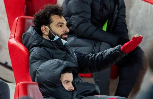 LIVERPOOL, ENGLAND - Thursday, March 4, 2021: Liverpool's Mohamed Salah sits on the bench after being substituted during the FA Premier League match between Liverpool FC and Chelsea FC at Anfield. (Pic by David Rawcliffe/Propaganda)