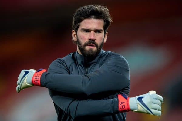 LIVERPOOL, ENGLAND - Thursday, March 4, 2021: Liverpool's goalkeeper Alisson Becker during the pre-match warm-up before the FA Premier League match between Liverpool FC and Chelsea FC at Anfield. (Pic by David Rawcliffe/Propaganda)