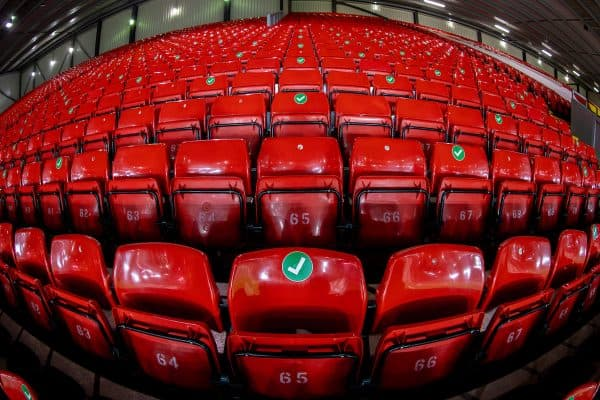 LIVERPOOL, ENGLAND - Thursday, March 4, 2021: Empty seats in the Spion Kop marked for social distancing ahead of the FA Premier League match between Liverpool FC and Chelsea FC at Anfield. (Pic by David Rawcliffe/Propaganda)