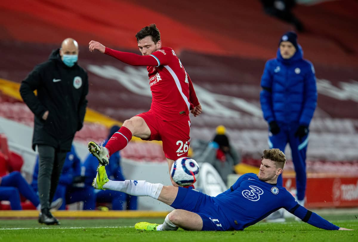 LIVERPOOL, ENGLAND - Thursday, March 4, 2021: Liverpool's Andy Robertson (L) and Chelsea's Timo Werner during the FA Premier League match between Liverpool FC and Chelsea FC at Anfield. (Pic by David Rawcliffe/Propaganda)