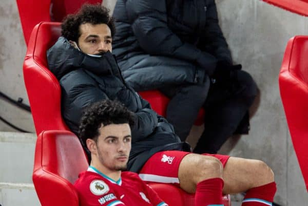 LIVERPOOL, ENGLAND - Thursday, March 4, 2021: Liverpool's Mohamed Salah on the bench after being substituted during the FA Premier League match between Liverpool FC and Chelsea FC at Anfield. (Pic by David Rawcliffe/Propaganda)