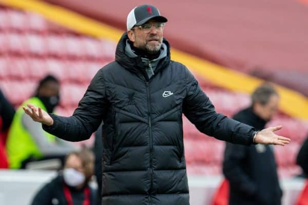 LIVERPOOL, ENGLAND - Sunday, March 7, 2021: Liverpool's manager Jürgen Klopp reacts during the FA Premier League match between Liverpool FC and Fulham FC at Anfield. (Pic by David Rawcliffe/Propaganda)