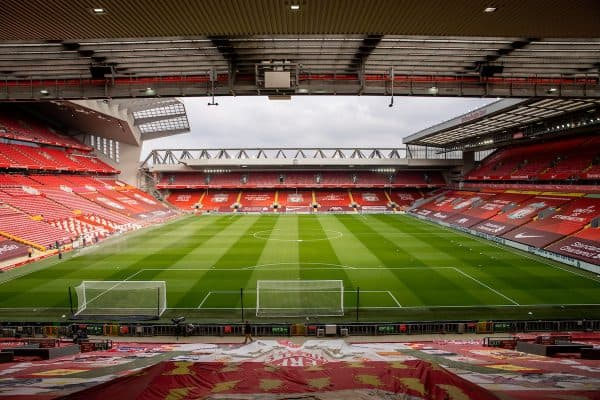 LIVERPOOL, ENGLAND - Sunday, March 7, 2021: A general view of Anfield as seen from the Spion Kop before the FA Premier League match between Liverpool FC and Fulham FC. (Pic by David Rawcliffe/Propaganda)