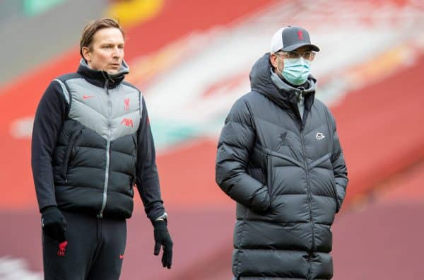 LIVERPOOL, ENGLAND - Sunday, March 7, 2021: Liverpool's manager Jürgen Klopp (R) and first-team development coach Pepijn Lijnders during the pre-match warm-up before the FA Premier League match between Liverpool FC and Fulham FC at Anfield. (Pic by David Rawcliffe/Propaganda)