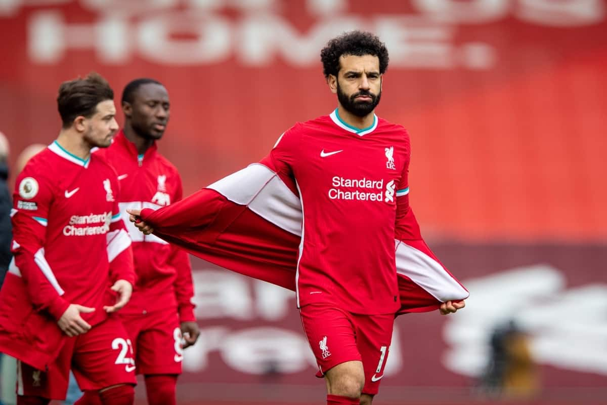 LIVERPOOL, ENGLAND - Sunday, March 7, 2021: Liverpool's Mohamed Salah before the FA Premier League match between Liverpool FC and Fulham FC at Anfield. (Pic by David Rawcliffe/Propaganda)