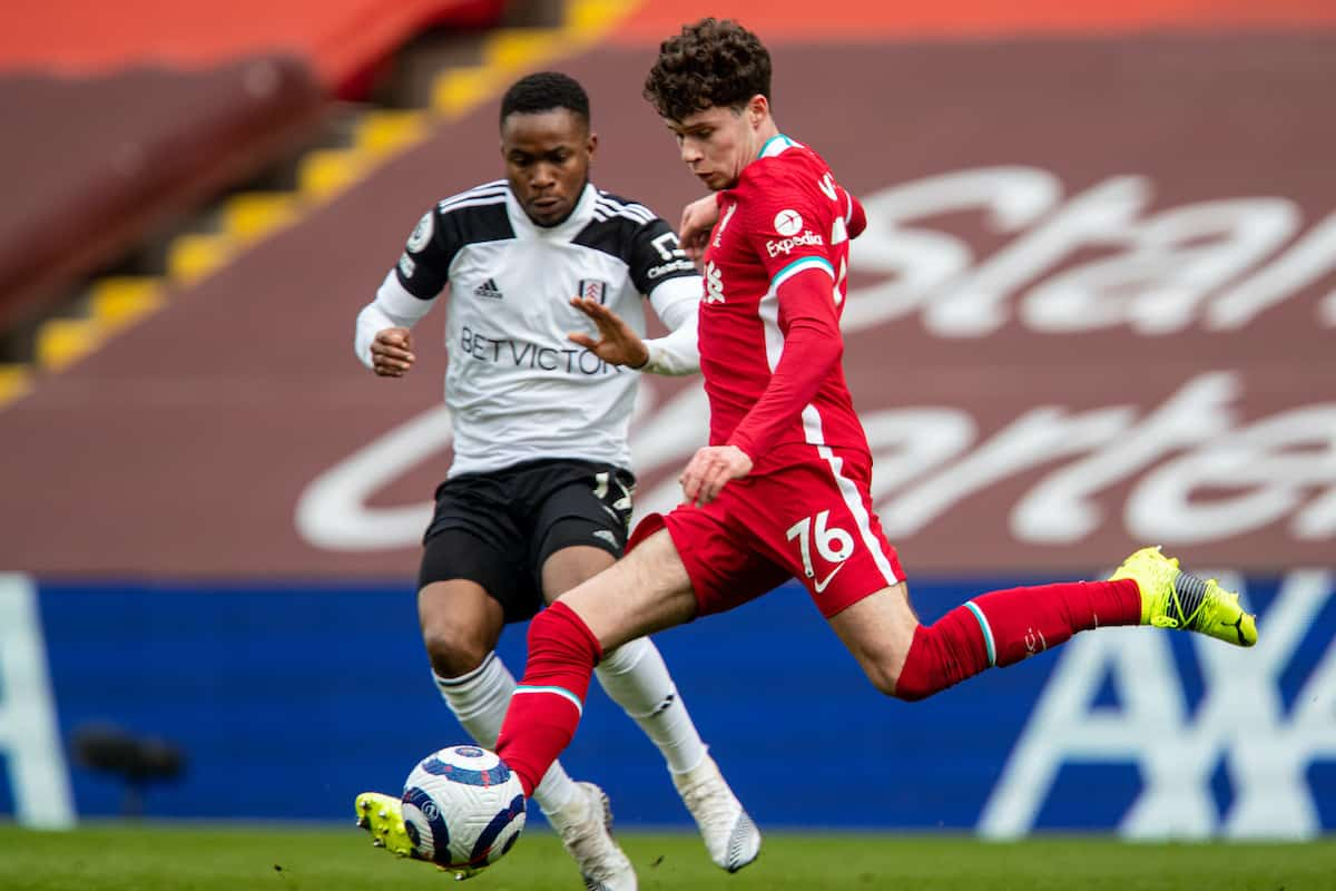 LIVERPOOL, ENGLAND - Sunday, March 7, 2021: Liverpool's Neco Williams during the FA Premier League match between Liverpool FC and Fulham FC at Anfield. (Pic by David Rawcliffe/Propaganda)
