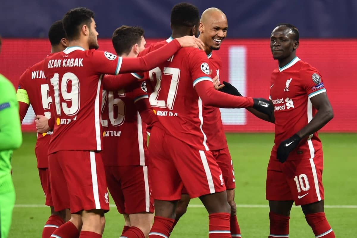 BUDAPEST, HUNGARY - Wednesday, March 10, 2021: Liverpool's Sadio Mané (R) celebrates with team-mate Fabio Henrique Tavares 'Fabinho' after scoring the second goal during the UEFA Champions League Round of 16 2nd Leg game between Liverpool FC and RB Leipzig at the Puskás Aréna. (Pic by Propaganda)