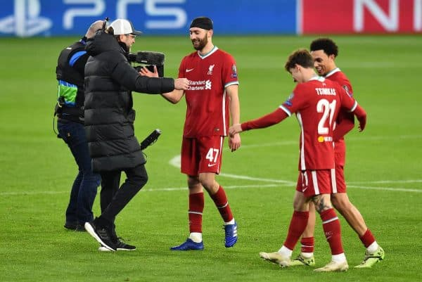 BUDAPEST, HUNGARY - Wednesday, March 10, 2021: Liverpool's manager Jürgen Klopp embraces Nathaniel Phillips after the UEFA Champions League Round of 16 2nd Leg game between Liverpool FC and RB Leipzig at the Puskás Aréna. (Pic by Propaganda)