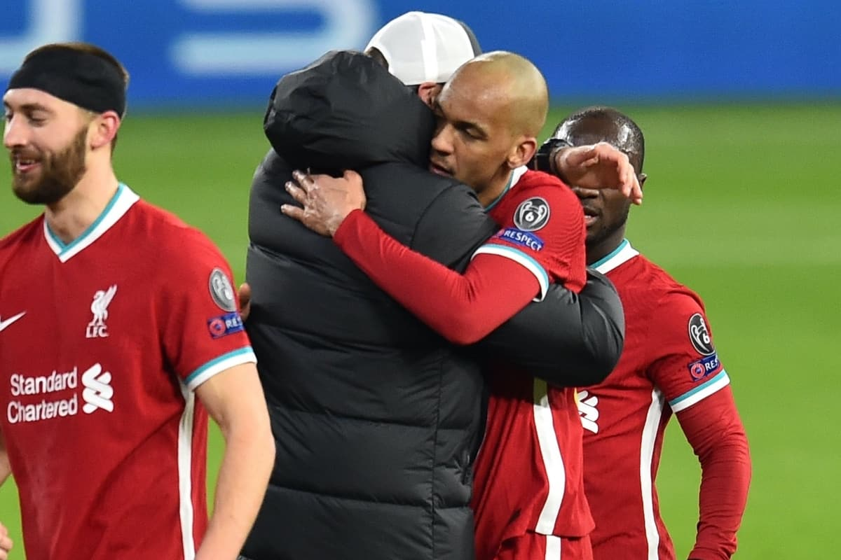 BUDAPEST, HUNGARY - Wednesday, March 10, 2021: Liverpool's manager Jürgen Klopp embraces Fabio Henrique Tavares 'Fabinho' after the UEFA Champions League Round of 16 2nd Leg game between Liverpool FC and RB Leipzig at the Puskás Aréna. (Pic by Propaganda)