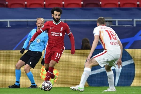 BUDAPEST, HUNGARY - Wednesday, March 10, 2021: Liverpool's Mohamed Salah during the UEFA Champions League Round of 16 2nd Leg game between Liverpool FC and RB Leipzig at the Puskás Aréna. (Pic by Propaganda)